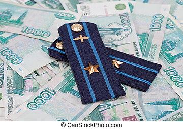 肩ベルト, の, ロシア人, 軍隊, 上に, お金, 背景