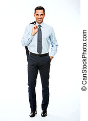 肩, フルである, ジャケット, 長さ, 彼の, 保有物, 肖像画, ビジネスマン, 微笑