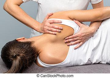 肩 刃, 細部, patient., セラピスト, 女性, 処理