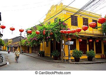 肩, 古代, ベンダー, 町, quang, 帽子, nam, hoi, 棒, 通り, 円錐, ベトナム