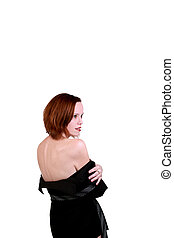肩, 女性ビジネス, 提示, ジャケット, 裸