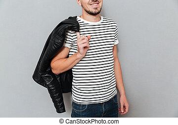 肩, 彼の, イメージ, 切り取った, ジャケット, 保有物, 微笑の人