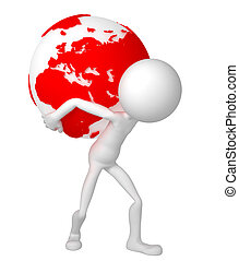 肩, 彼の, 地球, 保有物, 地球, 人, 3D