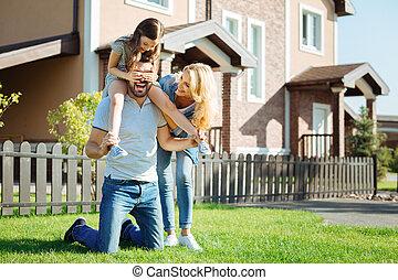 肩, 彼の, 娘, 父, 届く, 幸せ