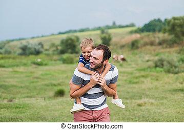 肩, 彼の, 子供, father., モデル