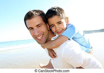 肩, 彼の, 父, 息子, 保有物, 浜