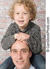 肩, 彼の, 父, 息子, 届く, 幸せ