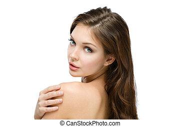 肩, 彼女, ヌード, 感動的である, 肖像画, 女の子