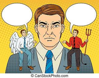 肩, 悪魔, 芸術, 天使, ポンとはじけなさい, ベクトル