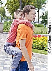 肩, 掛かること, 父, 息子