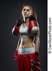 肩, 服, 彼の, 女性の 地位, 手袋, ボクシング