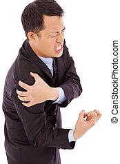 肩, 痛み, ビジネスマン, 表現, 持つこと, 苦痛