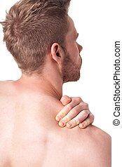 肩, 痛み, 持つこと, 人