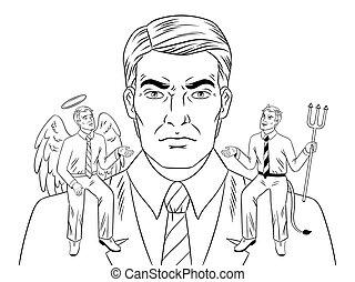 肩, 着色, 天使, 悪魔, ベクトル, 本