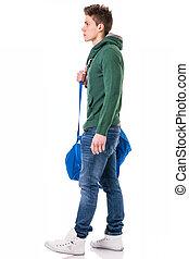肩, 若い, 隔離された, 袋, 革ひも, 魅力的, 人