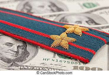 肩, 警察, お金, 革ひも, 背景, ロシア人