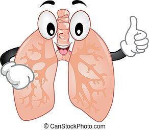 肺, マスコット, 印, オーケー