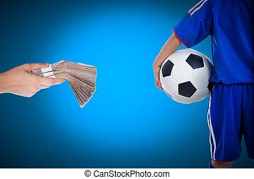 背中の手, 青年, プレーヤー, 保有物, サッカー, 山, 銀行, 光景