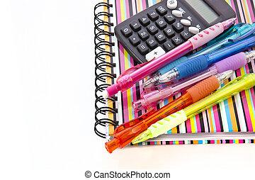 背中, へ, school., メモ用紙, ∥で∥, 学校, supplies.