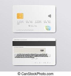 背中, クレジットカード, デザイン, 光景, 前部, mockup, -, 白