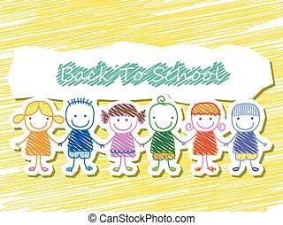 背中, グループ, 子供, 学校