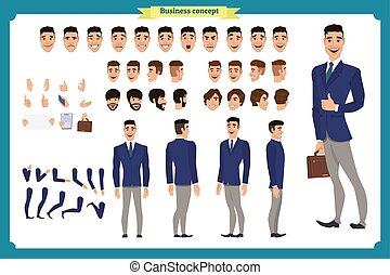 背中, マネージャー, gestures., 顔, ベクトル, ヘアスタイル, 前部, 側, 様々, character...
