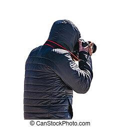 背中, 人, 写真, 隔離された, 取得, phoro, 光景