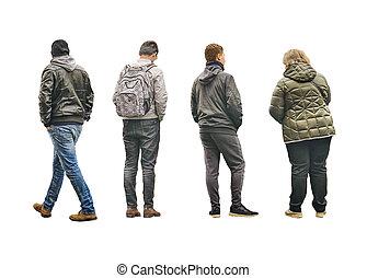 背中, 写真, 人々, 隔離された, 光景
