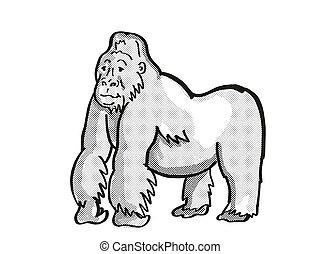 背中, 図画, ゴリラ, モノラル, 野生生物, 線, 銀, 危険にさらされる, 山, 漫画