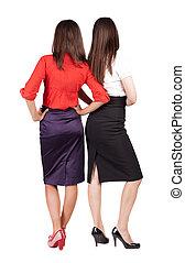 背中, 女性ビジネス, businessteam., 2, 若い, 光景