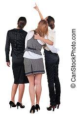 背中, 女性ビジネス, pointing., 若い, 3, 光景