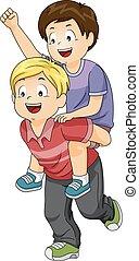 背中, 子供, 男の子, 小豚, 乗車