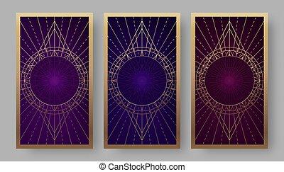 背中, 幾何学的, セット, tarot カード, シンボル