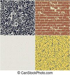 背中, 教育, セット, collection., 背景, 学校, seamless, 4, パターン, ベクトル