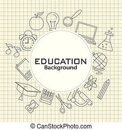 背中, 教育, school., カード, アイコン