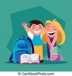 背中, 生徒, 学校, 恋人, 供給