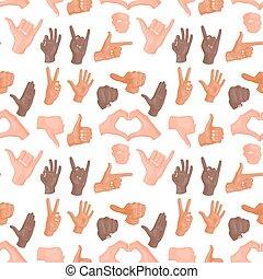 背景の 人々, パターン, 手, seamless, ジェスチャー, ベクトル, 人間, コミュニケーション, メッセージ, deaf-mute, 腕, illustration.