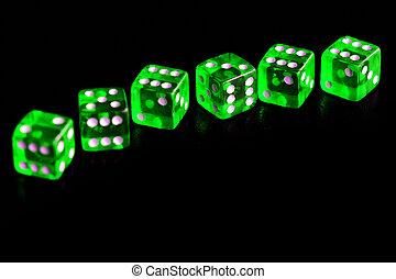 背景, さいころ, ギャンブル, 黒, close-up., 透明, ?oncept, 緑
