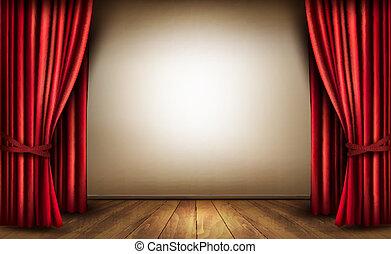 背景, ∥で∥, 赤, ビロードの カーテン, そして, a, 木製である, floor., ベクトル,...