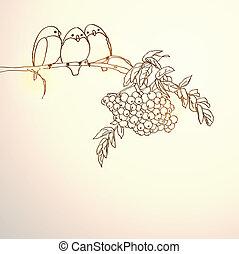 背景, ∥で∥, 鳥, 上に, ブランチ