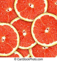 背景, ∥で∥, citrus-fruit, の, グレープフルーツ, に薄く切る