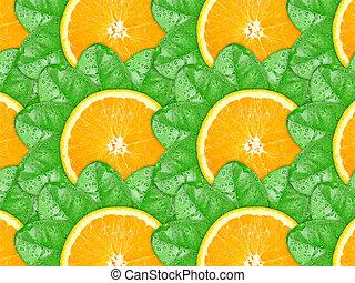 背景, の, オレンジ, に薄く切る, そして, 緑の葉
