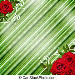 背景, ばら, 赤い緑, しまのある