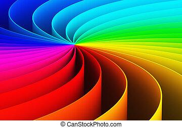 背景, らせん状に動きなさい, 抽象的, 虹, 3d