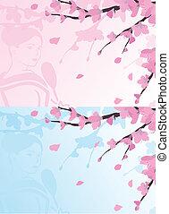 背景, アジア人, sakura