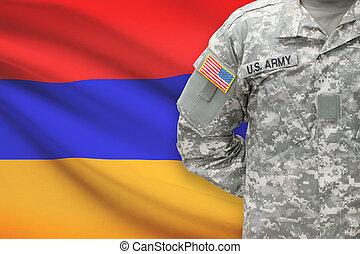背景, -, アメリカ人, 兵士, 旗, アルメニア
