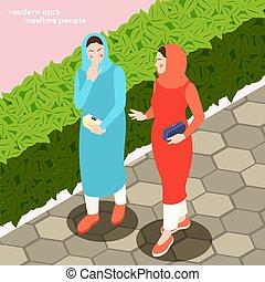 背景, イスラム教, 現代, 女性