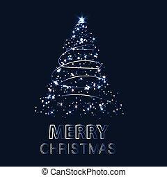 背景, イラスト, クリスマス, ベクトル, 照ること, 木。