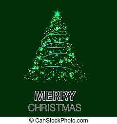 背景, イラスト, クリスマス, ベクトル, 緑, 照ること, 木。