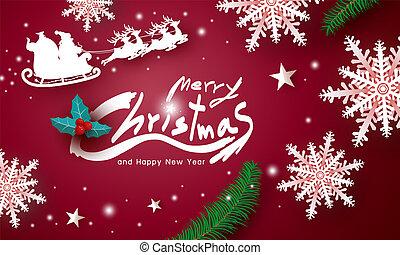 背景, イラスト, ベクトル, デザイン, 陽気, 年, 新しい, クリスマス, 赤, 幸せ